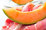 spanish jamon serrano and melon