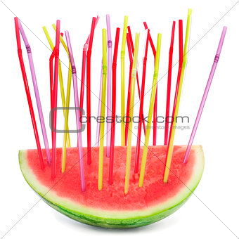 a piece of watermelon with drinking straws of different colors