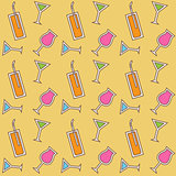 Seamless cocktail pattern. Vector.