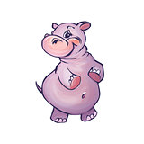 Vector illustration of hippopotamus in cartoon style