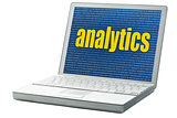 analytics word on a laptop
