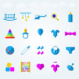 Flat icons for children toys