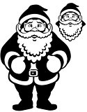 santa claus black white