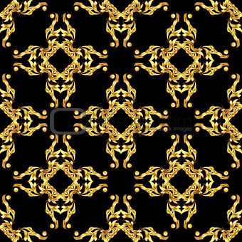 Asian golden pattern on black