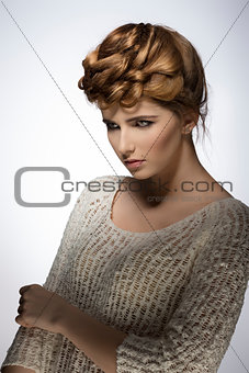 girl with fashion elegant hair-style