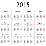 Spanish Calendar for 2015. Mondays first