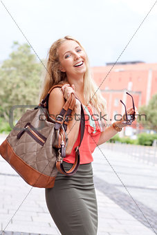attractive young blonde woman city lifestyle outdoor