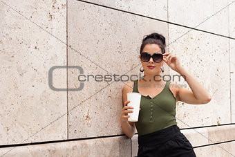 attractive young woman with  sunglasses outdoor