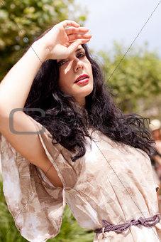 beautiful brunette woman fashion outdoor in summer