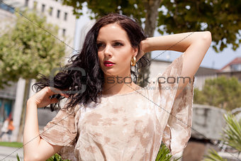beautiful brunette woman fashion outdoor in summer