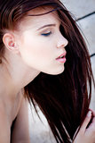 beautiful woman portrait wirth long straight dark brown hair
