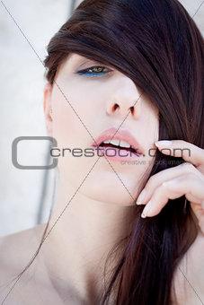 beautiful woman portrait wirth long straight dark brown hair