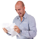 businessman angry expression paperwork isolated