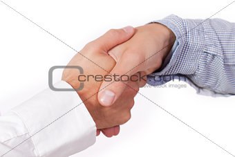 business man handshake agreement closeup isolated