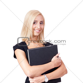 smiling young business woman with folder portrait