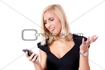 attractive young business woman with smartphone mobile