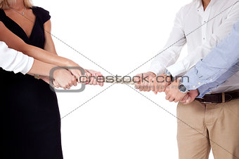 business woman against businessman pulling rope isolated