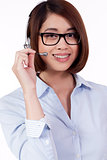 young smiling asian businesswoman call center agent isolated