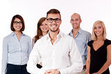 young successful business team smiling portrait isolated