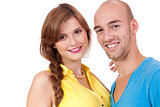 young smiling couple in love portrait isolated