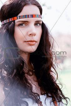 beautiful dreamy woman in summer