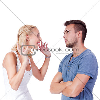 young attractive couple conflict angry problem isolated
