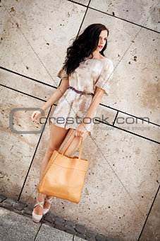 attractive young brunette woman in sexy dress and handbag