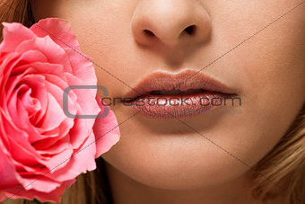 beautiful natural woman lips closeup macro sensuality