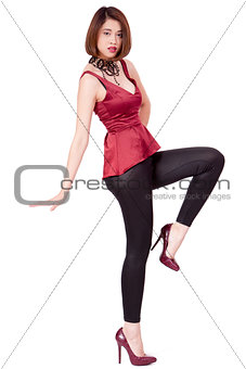 elegant young asian woman posing isolated