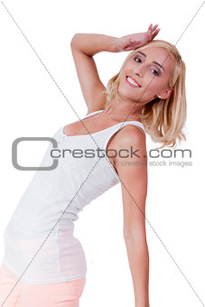 attractive young smiling blonde woman isolated