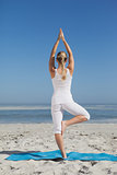 Blonde woman standing in tree pose on beach