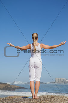 Blonde woman standing on beach on rock