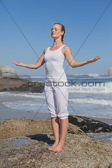 Blonde content woman standing on beach on rock with arms out