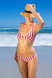 Gorgeous fit woman in bikini and sunhat posing on the beach