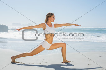 Gorgeous blonde in warrior pose by the sea