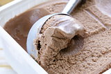 Delicious fresh homemade chocolate ice cream - summer dessert