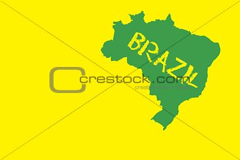 Green brazil outline on yellow with text
