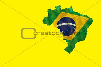 Green brazil outline with flag on yellow