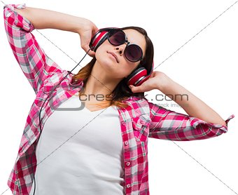 Casual brunette listening to music