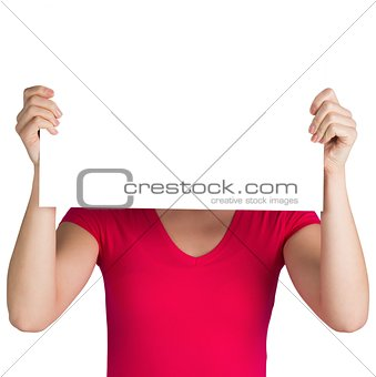 Woman in pink t-shirt showing card
