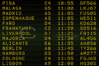 Black airport departures board