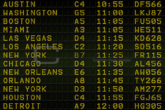 Black airport departures board for america