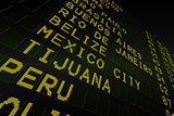 Black airport departures board for south america