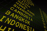 Black airport departures board for asia