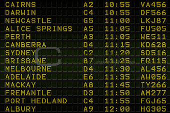 Black airport departures board for australia