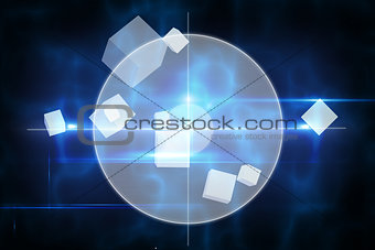 Blue technology design with circle
