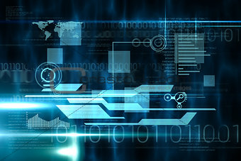 Blue and black technology interface