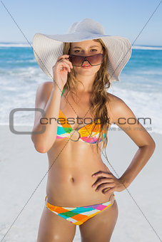 Beautiful girl in bikini and straw hat looking at camera on beach