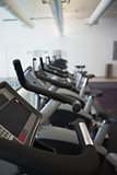 Row of cross trainer machines