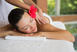 Brunette enjoying a peaceful massage